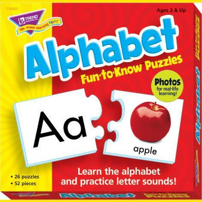 Trend Enterprises Alphabet 2-Piece Puzzles, Assorted Themes, set of 26