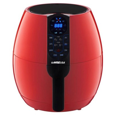 GoWise 3.7-Quart Programmable Air Fryer with 8 Cooking Presets, Chili Red