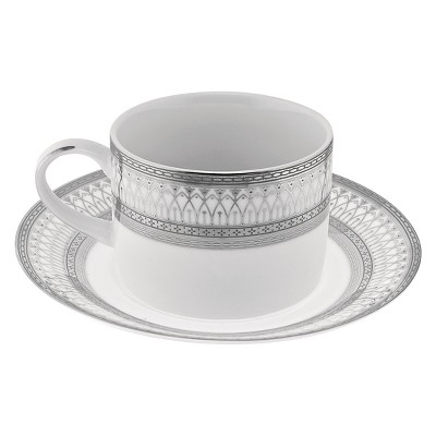 10 Strawberry Street Iriana Silver Can Cup/Saucer 8oz Set of 4