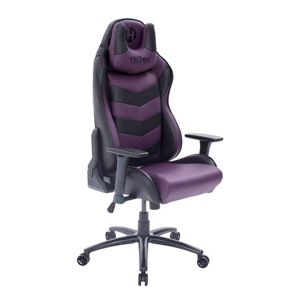 Image of Ergonomic High Back Racer Style Video Gaming Chair Purple - Techni Sport