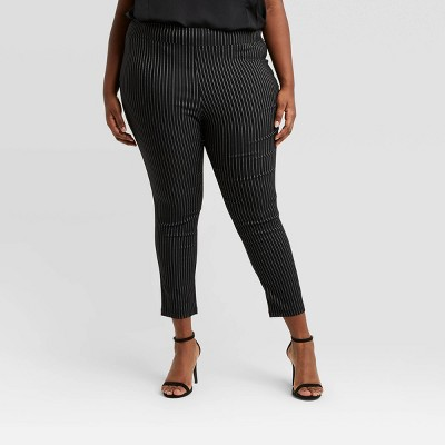 Women's Plus Size Striped High-Rise Skinny Cropped Pants - Who What Wear™ Black