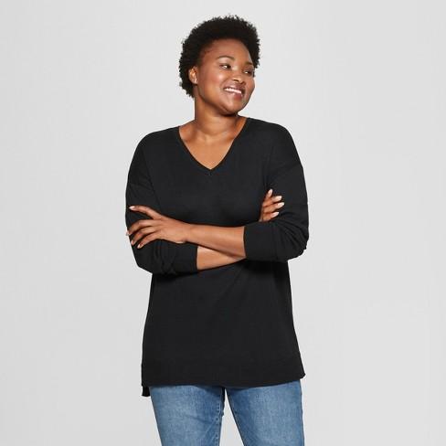 7358bac2bfae4 Women s Plus Size Long Sleeve Pullover - Ava   Viv™ Black 2X   Target
