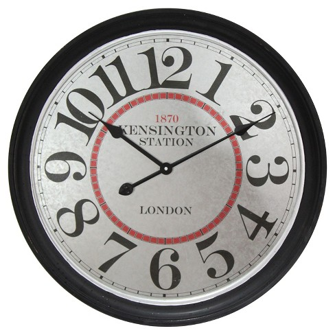 Kensington Station Round Wall Clock Black - Infinity Instruments® - image 1 of 5