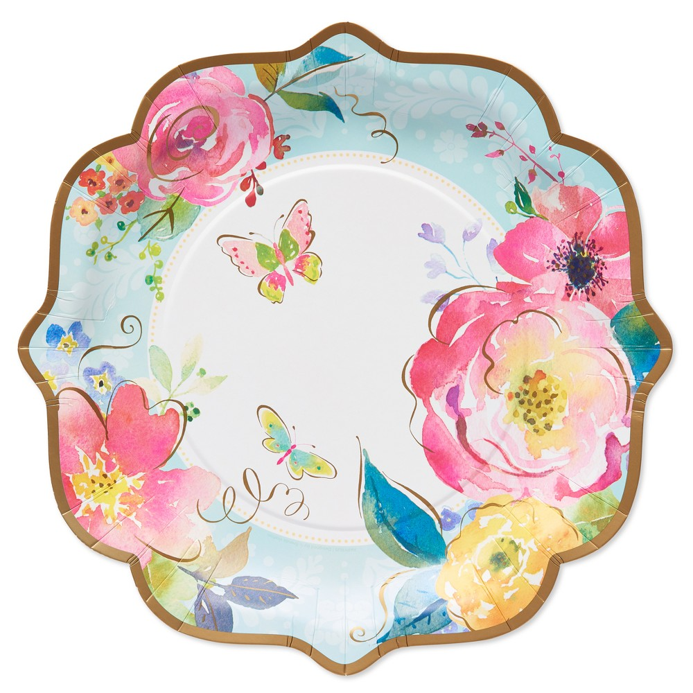 Papyrus Watercolor Flowers Dinner Plate, Multi-Colored