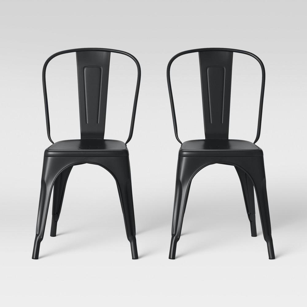 Set of 2 Carlisle High Back Dining Chair Matte Black - Threshold
