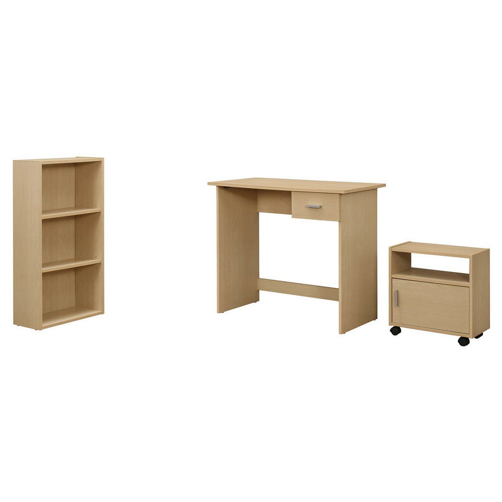 Computer Desk with Bookcase and Cart - Maple - EveryRoom