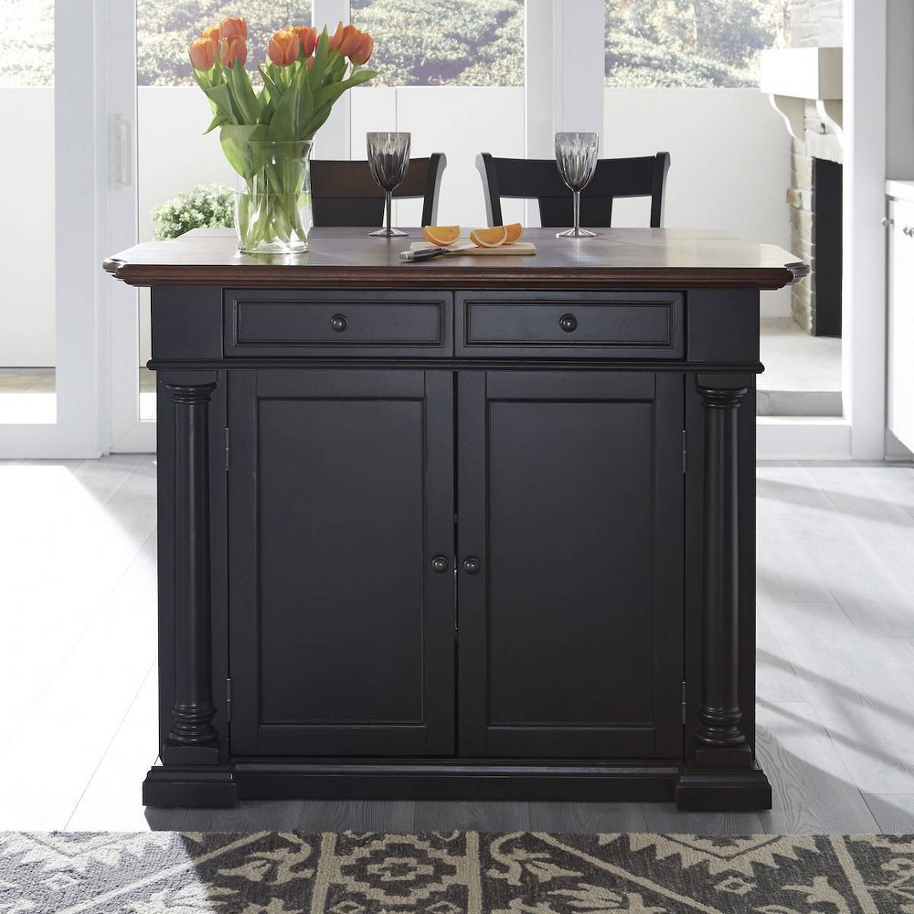 Beacon Hill Solid Wood Top Kitchen Island & 2 Stools Black - Home Styles