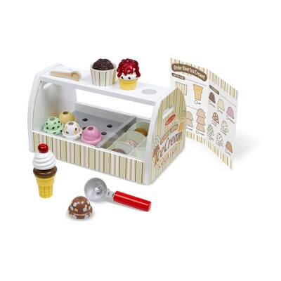 Melissa & Doug Wooden Scoop and Serve Ice Cream Counter (20pc) - Play Food and Accessories