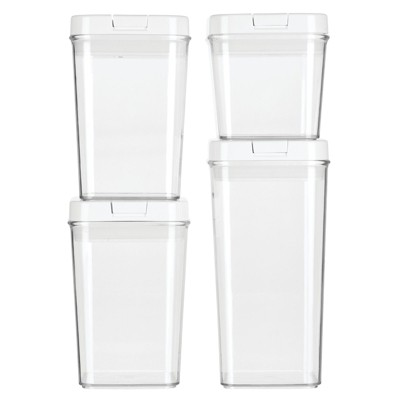 mDesign Airtight Food Storage Container with Lid for Kitchen, 4 Pack - Clear