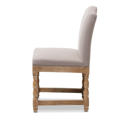 Enjoyable Paige French Vintage Cottage Weathered Oak Wood Finish And Fabric Upholstered Dining Side Chair Beige Baxton Studio Home Interior And Landscaping Oversignezvosmurscom