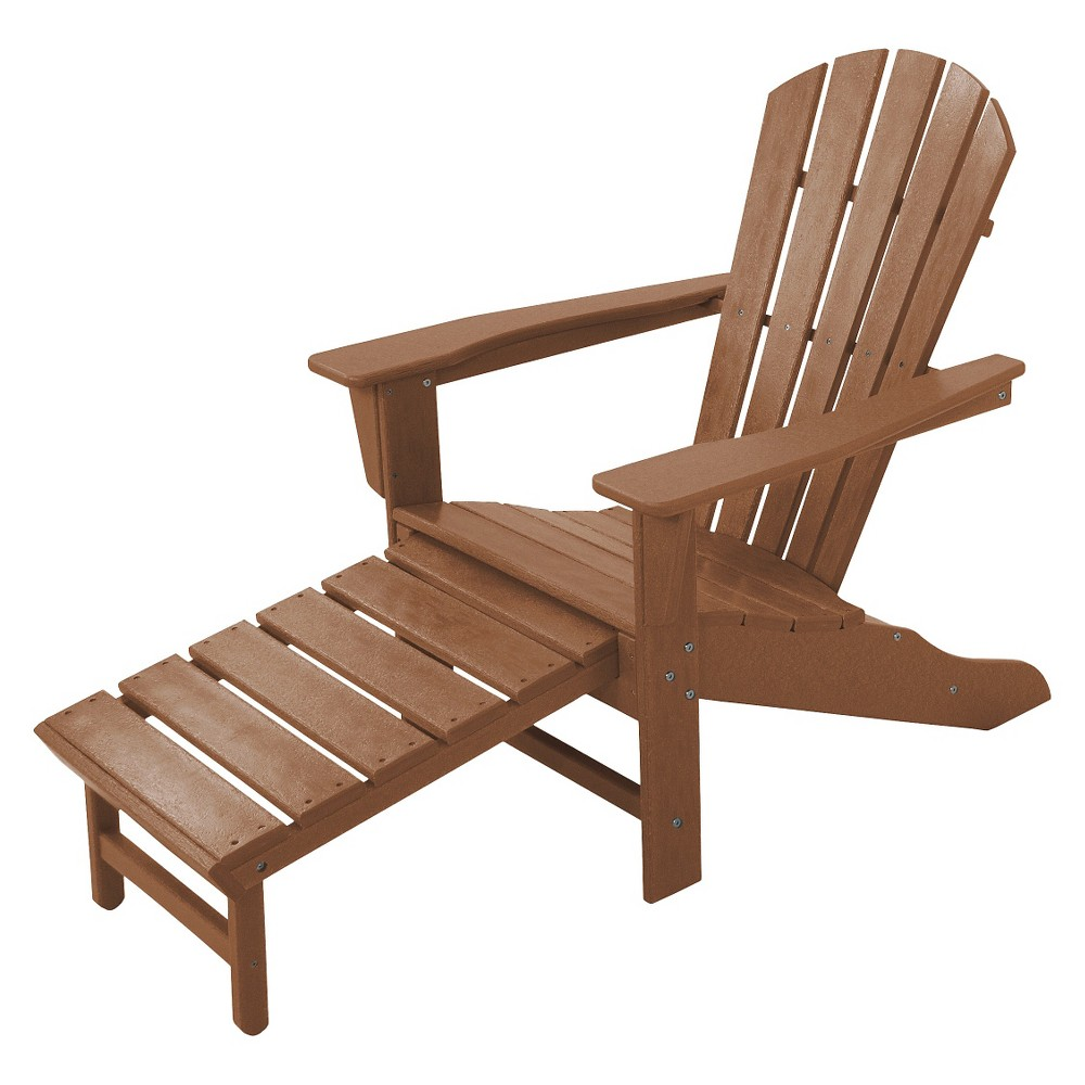 Polywood Palm Coast Adirondack Chair with Pull Out Ottoman - Teak (Brown)