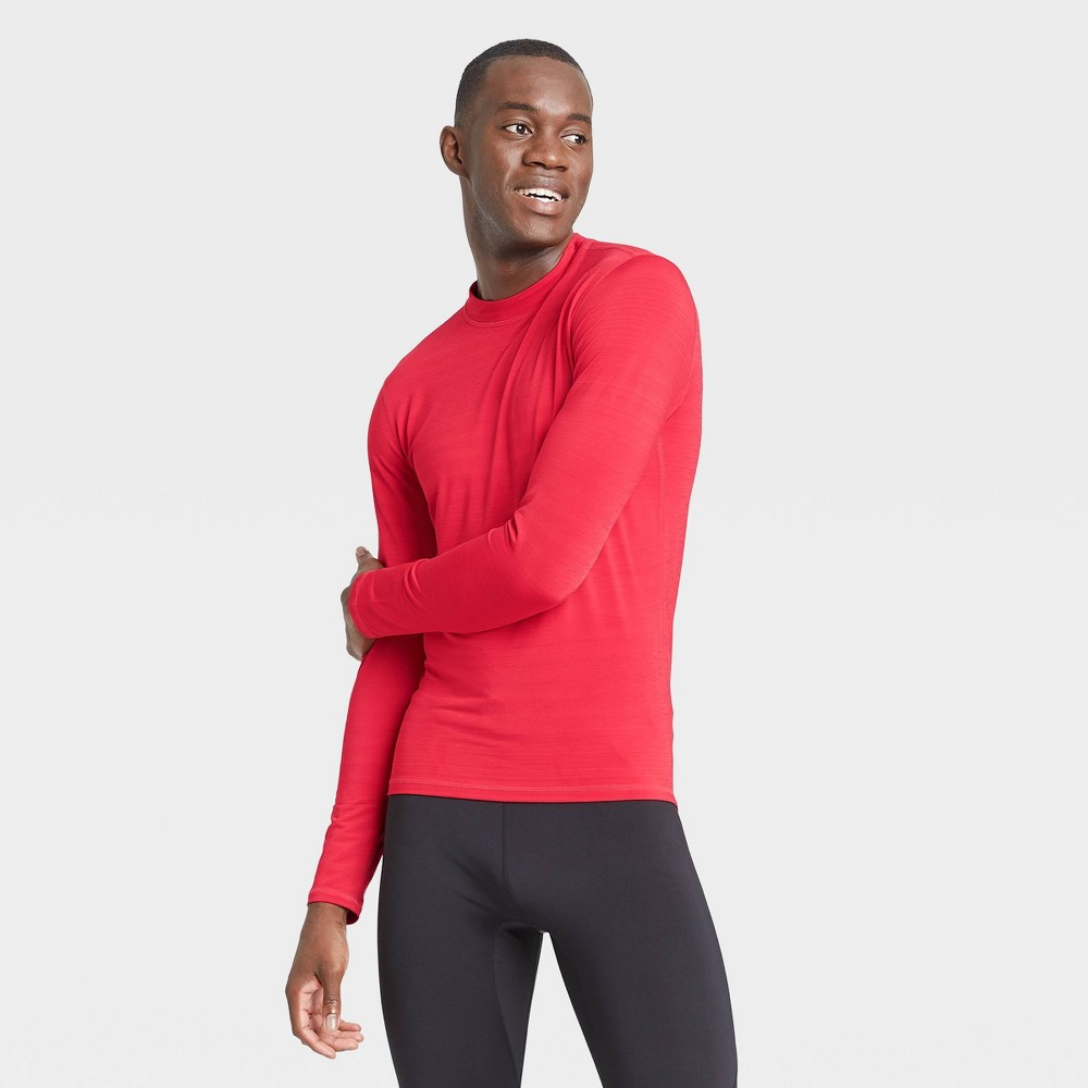 Men's Long Sleeve Fitted Cold Mock T-Shirt - All in Motion Red S was $22.0 now $11.0 (50.0% off)