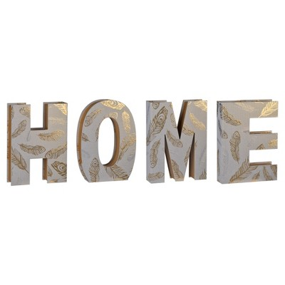 Home Alphabet Boxes Gray/Gold 4pc - A&B Home