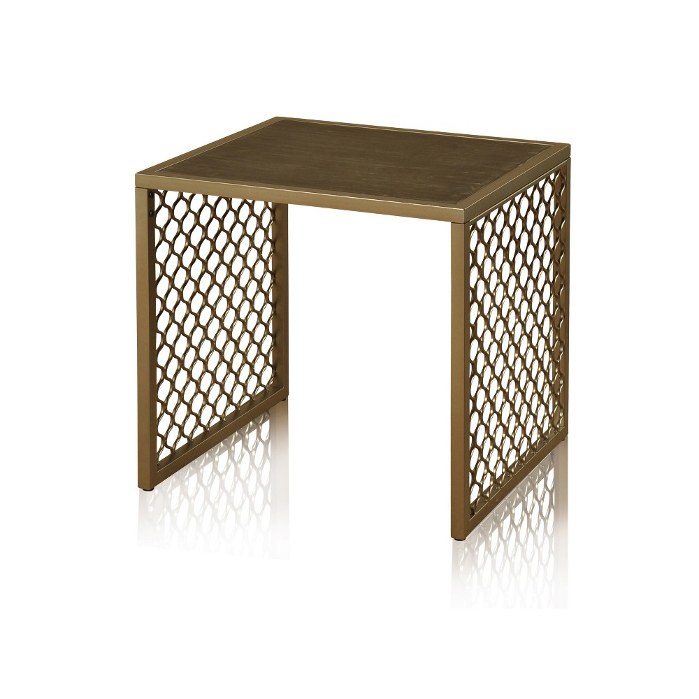 Side Table with Braided Wrought Iron Bronze Stylecraft
