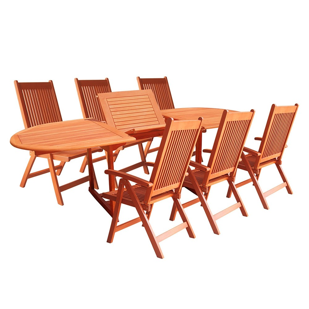 Vifah 7-Piece Outdoor Wood Dining Set with Oval Extension Table - Brown