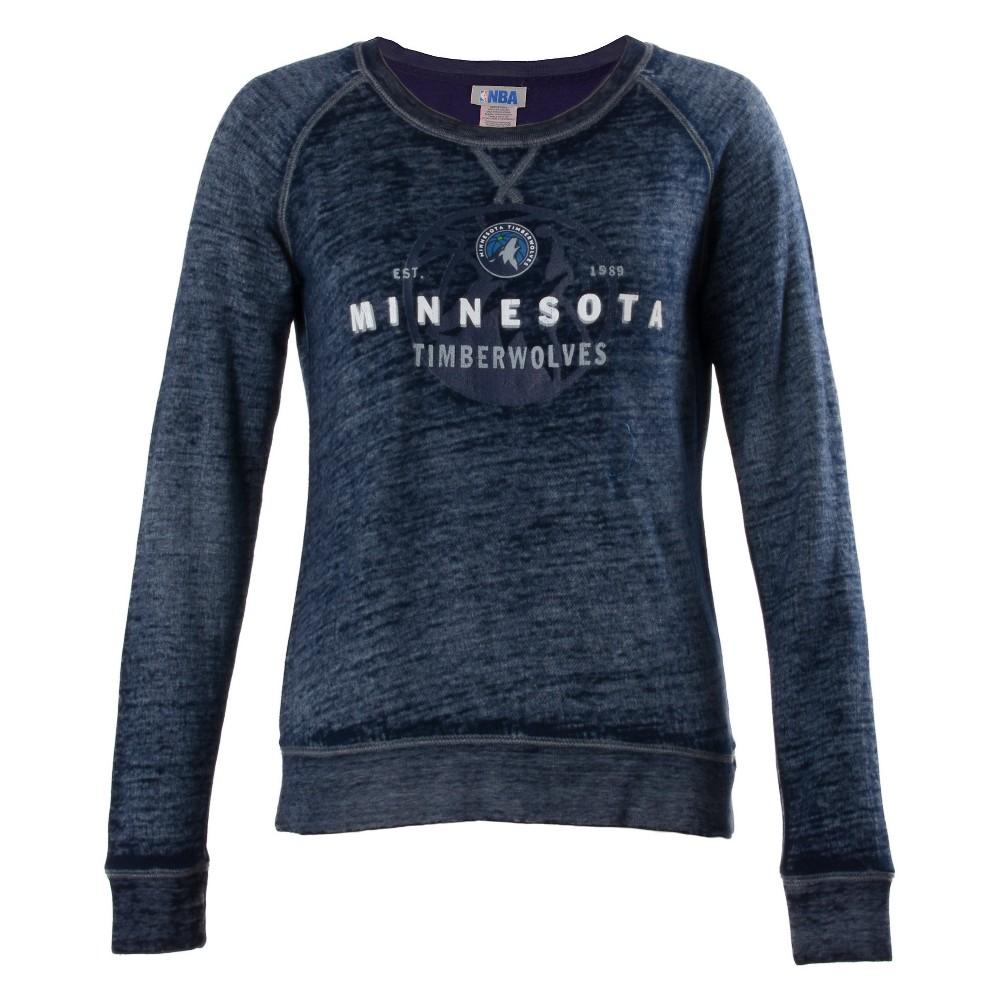 Minnesota Timberwolves Women's Retro Logo Burnout Crew Neck Sweatshirt L, Multicolored