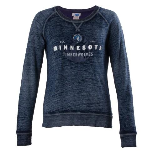 hot sale online 556f4 f0dbc NBA Minnesota Timberwolves Women's Retro Logo Burnout Crew Neck Sweatshirt