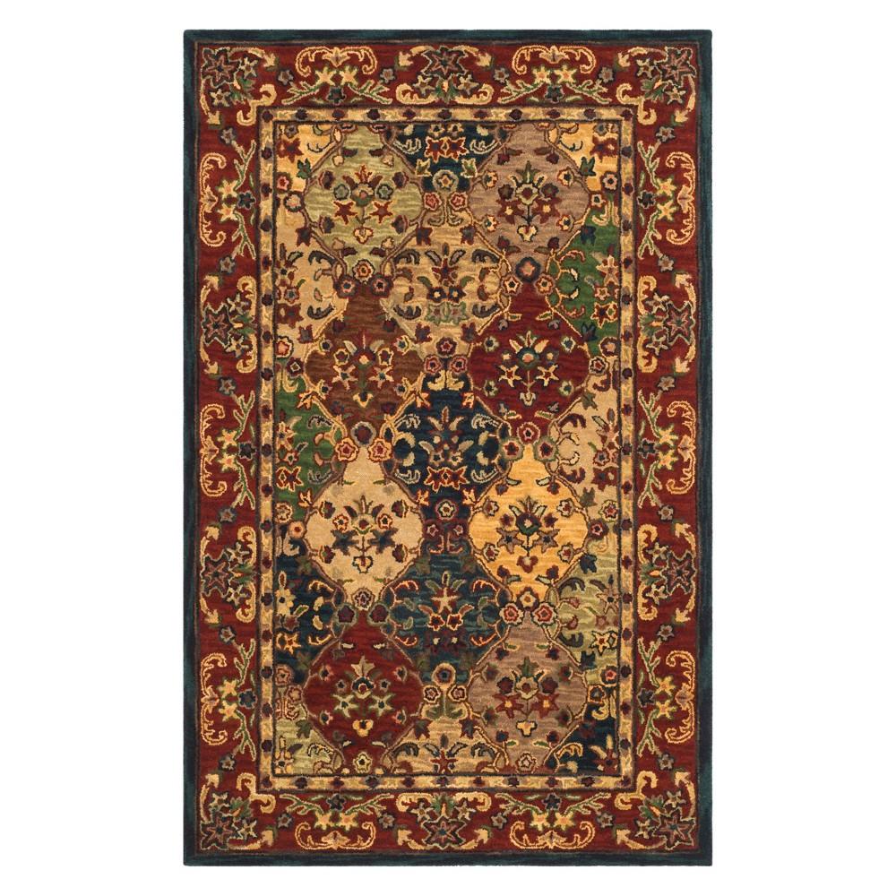6'X9' Floral Area Rug Beige/Burgundy (Beige/Red) - Safavieh