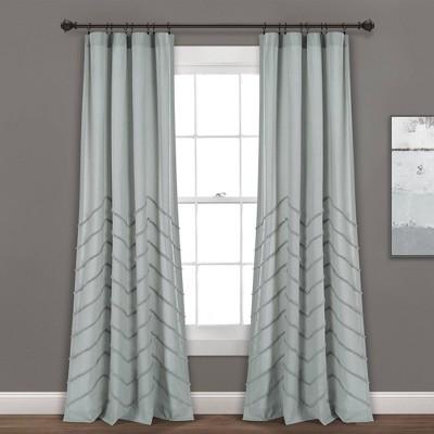 Set Of 2 Chenille Chevron Light Filtering Window Curtain Panel - Lush Décor