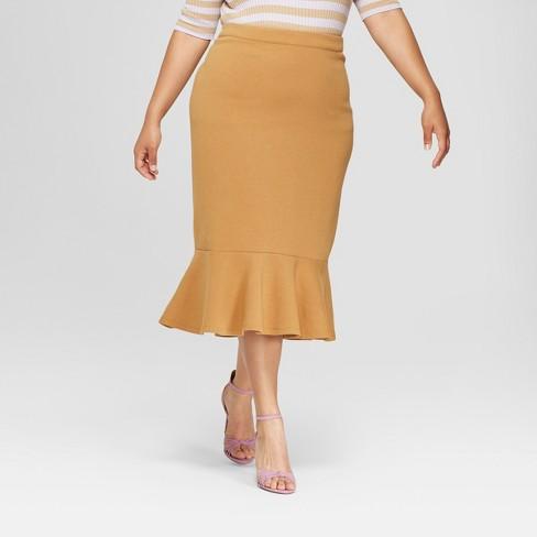9c463235906 Women s Plus Size Ponte Midi Skirt - Who What Wear™ Tan 18W   Target