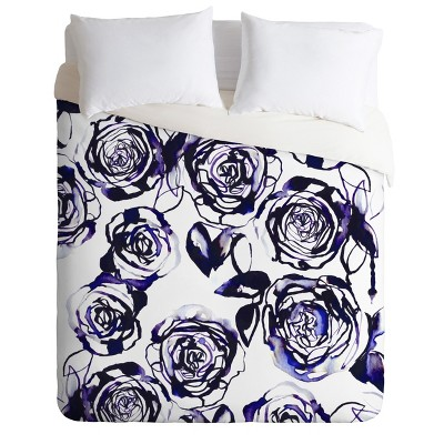 Holly Sharpe Inky Roses Duvet Cover Set Purple - Deny Designs