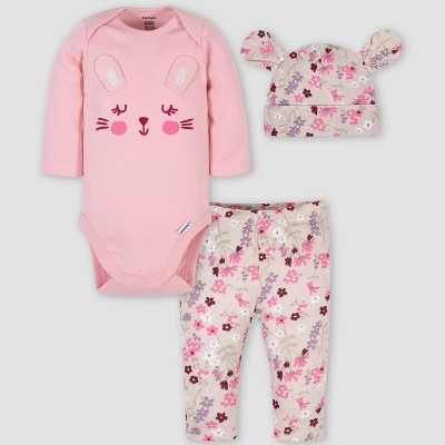 Gerber Baby Girls' 3pc Bunny Organic Cotton Bodysuit Set - Pink/White 0-3M