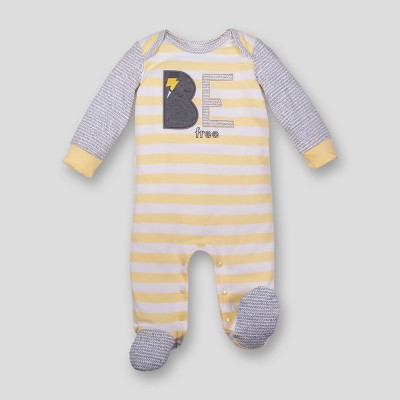 Lamaze Baby Boys' Organic Be Free Stripe Zip Sleep 'N Play - Yellow 6M
