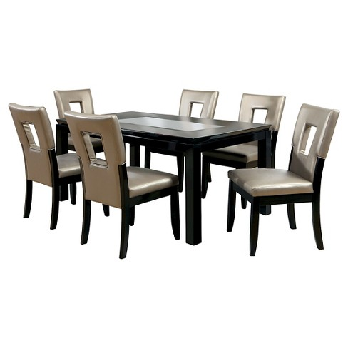 Iohomes 7pc Glass Insert Table Top Dining Set Wood Black