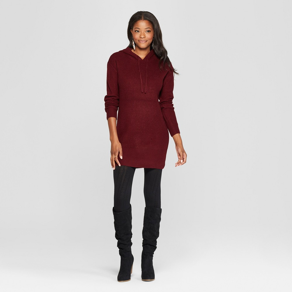 Women's Long Sleeve Hoodie Sweater Dress - Almost Famous (Juniors') Burgundy M, Red