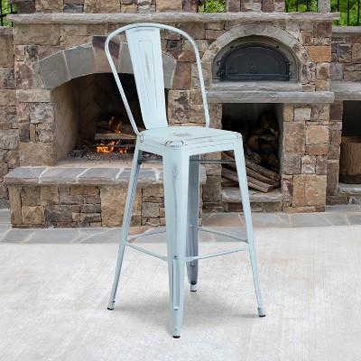 """Flash Furniture Commercial Grade 30"""" High Distressed Metal Indoor-Outdoor Barstool with Back"""