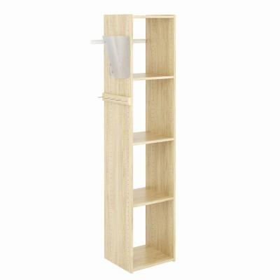 Easy Track 5 Shelf Wood Utility Mountable Home Closet Storage Tower Kit System with 5 Peg Rack, Bag Holder, and 2 Adjustable Shelves, Honey Blonde