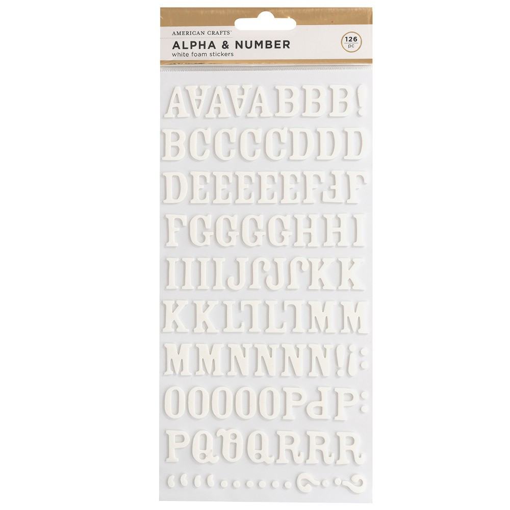 Image of 126pc Foam Stickers Alpha & Number White - American Crafts