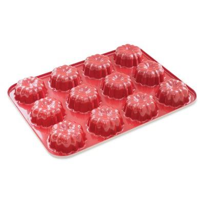 Nordic Ware 12-Cavity Bundt Cupcake Pan, Mini, Red