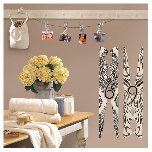 Roommates Clothes Pins Peel And Stick Giant Wall Decals Target