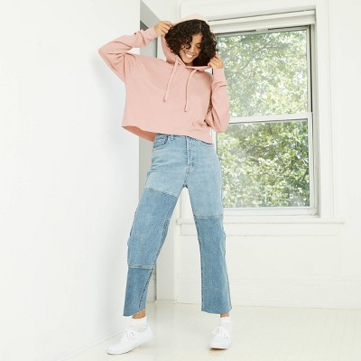 Women's Waffle Knit Cropped Hoodie - Wild Fable™ Blush Pink M