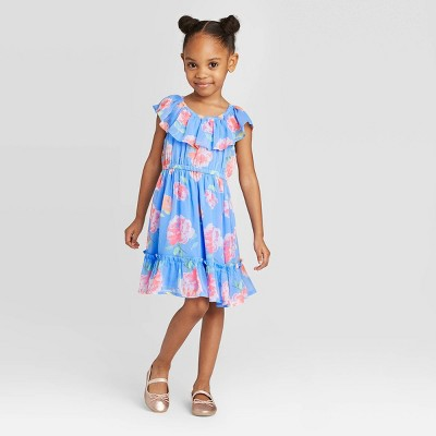 OshKosh B'gosh Toddler Girls' Short Sleeve Chiffon Floral Dress - Light Blue 12M