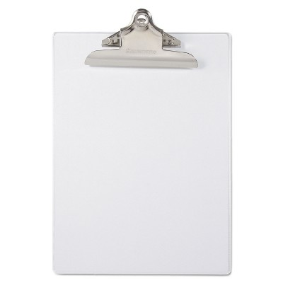 """Saunders Recycled Plastic Clipboards 1"""" Clip Cap 8 1/2 x 12 Sheets Clear 21803"""