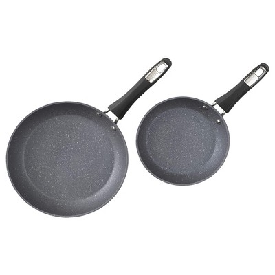 Bialetti 7556 Impact Covered Nonstick Heavy Gauge Aluminum Oven Safe 8 and 10 Inch Frying Pan Kitchen Set with Silicone Handles, 2 Pack, Gray