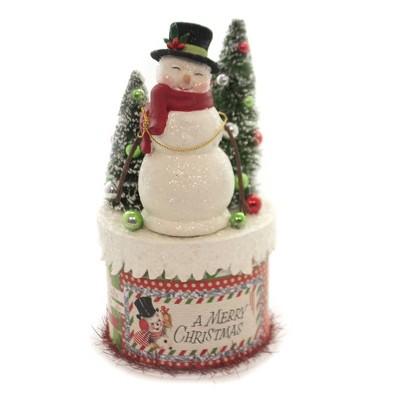 "Christmas 8.5"" Retro Snowman On Box Bottle Brush Trees Ornaments  -  Decorative Figurines"