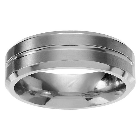 Men's Territory Grooved Center Brushed Wedding Band in Titanium - Silver - image 1 of 3