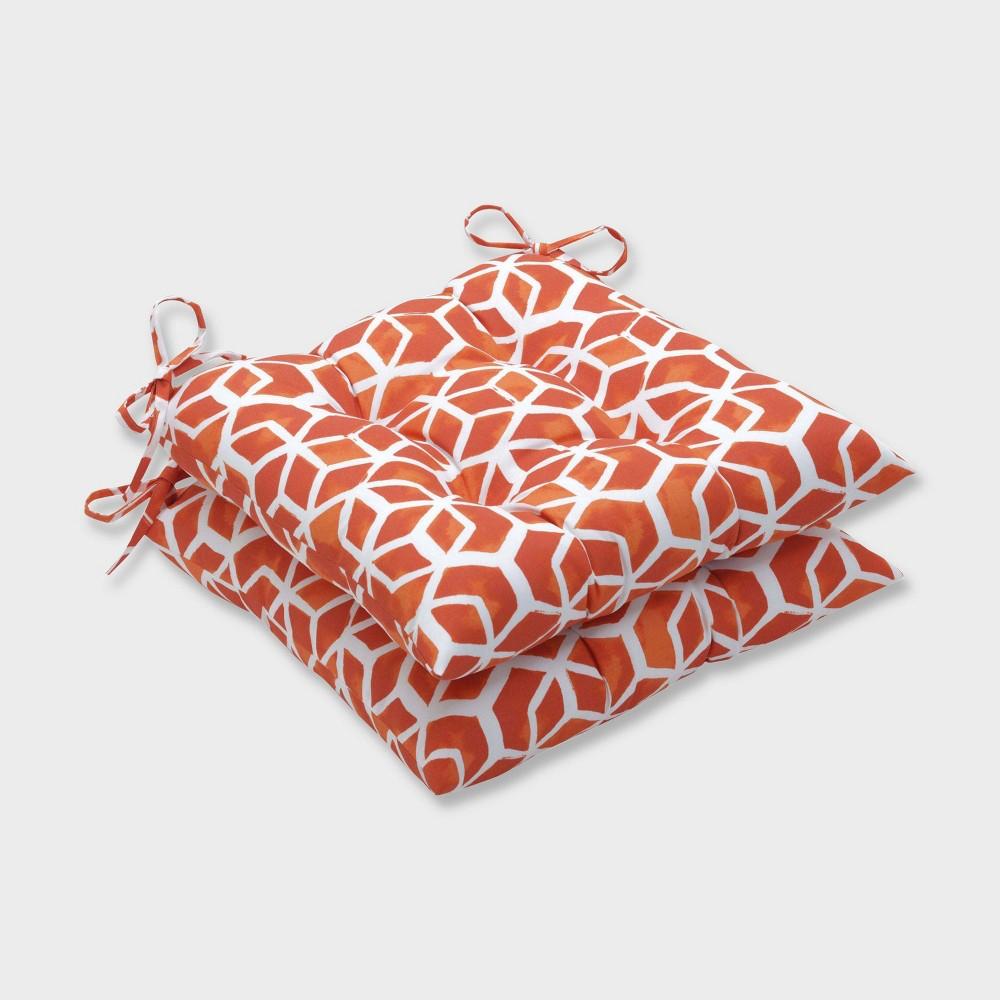 2pk Celtic Marmalade Wrought Iron Outdoor Seat Cushions Orange - Pillow Perfect