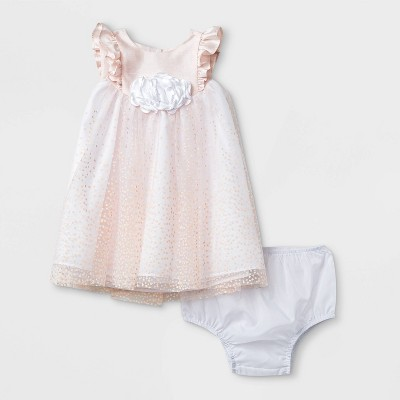 Mia & Mimi Baby Girls' Lacquer Dot Dress - Light Pink 0-3M