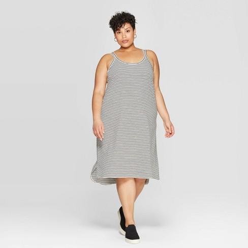Women\'s Plus Size Striped Strap Scoop Neck A-Line Dress - Ava & Viv™  Black/White