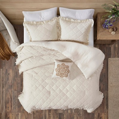 Full/Queen 4pc Bette Quilted Comforter Set Linen