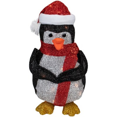 "Northlight 19.5"" White and Red Lighted Penguin with Santa Hat Outdoor Christmas Decoration"