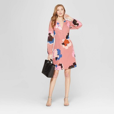 Women's Floral Print Long Sleeve Chiffon Dress   A New Day™ Dark Pink by A New Day