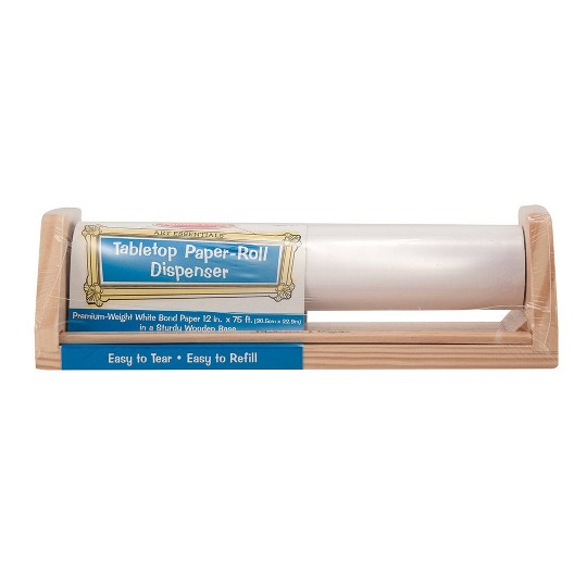 Melissa & Doug Wooden Tabletop Paper Roll Dispenser With White Bond Paper (12 inches x 75 feet) image number null
