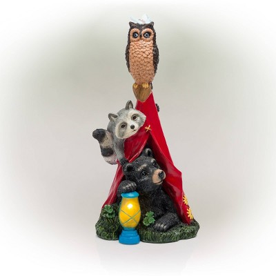 """Alpine 18"""" Solar Camping Nature Pals Resin Statue with LED Lights"""