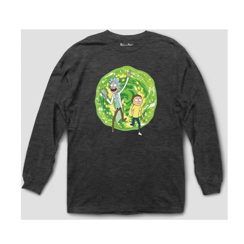 7a93bb525 Men's Rick And Morty Long Sleeve T-Shirt - Black : Target