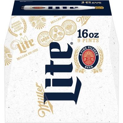 Miller Lite Beer - 9pk/16 fl oz Aluminum Bottles